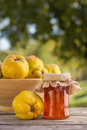 Quince jelly in jar with fruit outdoors Royalty Free Stock Photos
