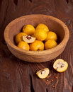 Quince on wooden table apple dish Stock Photo