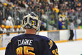 Quinnipiac Goalie Dan Clarke in NCAA Hockey Game Stock Images