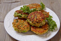 Quinoa fritters with kale and cheddar cheese Royalty Free Stock Images