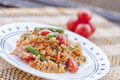 Quinoa salad vegetarian with carrots and green beans Stock Image