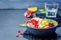 Quinoa spinach beet orange pomegranate blue cheese salad Royalty Free Stock Photo