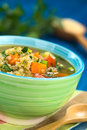 Quinoa and vegetable soup vegetarian with carrot potato leek tomato sprinkled with parsley scallion in colorful bowl selective Stock Photography