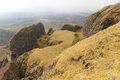 Quiraing at the isle of skye formation called table area scotland Stock Photo