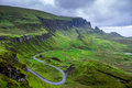 Quirang and devious road in a cloudy day isle of skye scotland Royalty Free Stock Photo