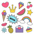 Quirky cartoon sticker patch badge set. Royalty Free Stock Photo