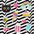 Quirky cartoon sticker patch badges set. Fashion pin collection. Cat, heart, rainbow, cloud, cupcake, bee, ice cream, popcorn, lip Royalty Free Stock Photo