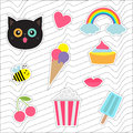 Quirky cartoon sticker patch badges set. Fashion pin collection. Royalty Free Stock Photo
