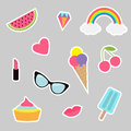 Quirky cartoon sticker patch set. Summer time badges. Fashion pin collection. Lipstick, heart, rainbow, cloud, cupcake, diamond, i Royalty Free Stock Photo
