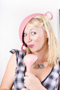 Quirky housework girl singing kitchen karaoke Royalty Free Stock Photography