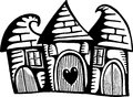 Quirky village homes a whimsical doodle drawing of three houses huddled together in a little Royalty Free Stock Images