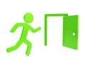 Quit, emergency exit icon emblem isolated Royalty Free Stock Photo