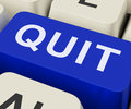 Quit key shows exit resign or give up showing Royalty Free Stock Images