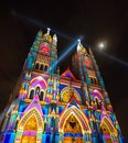 QUITO, ECUADOR - AUGUST 9, 2017: Beautiful view at night of the neo - gothic style Basilica of the National Vow Royalty Free Stock Photo