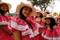 Quito festivities parade ecuador december group of women dressed up with colorful dresses for the Stock Photos