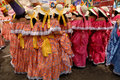 Quito festivities parade ecuador december group of women dressed up with colorful dresses for the Stock Image