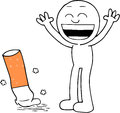 Quitting smoking illustration of man happy after Royalty Free Stock Images
