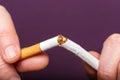 Quitting smoking male hand crushing cigarette Royalty Free Stock Photo
