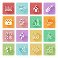 Quiz or education subject icons academic category covering math sports music science history and lots more Royalty Free Stock Images