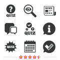 Quiz icons. Speech bubble with check mark symbol. Royalty Free Stock Photo