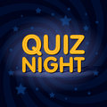 Quiz Night neon light sign in retro twist background with stars. Poster template  illustration Royalty Free Stock Photo