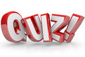 Quiz red d word test exam assessment the in letters to illustrate an evaluation or to measure your knowledge or expertise Stock Image