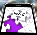 Quiz smartphone means online exam or challenge meaning questions Stock Image