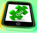Quiz smartphone shows exam test or game showing Stock Images