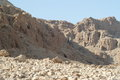 Qumran israel view of terrain in area of where old testament scrolls were found by bedouin shepherd boys Royalty Free Stock Photo