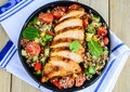 Qunioa salad with grilled chicken Royalty Free Stock Photo