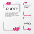 Quote bubble with hearts valentine s speech bubble paper cut style citation text box template applique blank text commas Royalty Free Stock Photo