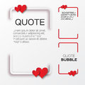 Quote bubble with hearts valentine s speech bubble paper cut style citation text box template applique blank text commas Stock Photography