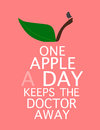 Quote one apple a day keeps the doctor away an illustration of an created out of white text letters with simple leaf stem and bird Stock Photos
