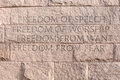 Quote at roosevelt memorial washington dc detail of quotation about freedom monument to president franklin delano in Royalty Free Stock Image