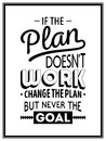 Quote typographical background if the plan does not work change the plan but never the goal vector eps illustration Stock Photos