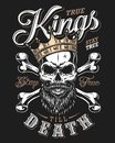 Quote typography with black and white king skull in golden crown with beard