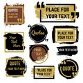 Quotes speech bubbles with frames and distressed rough brush texture vector set Royalty Free Stock Photo