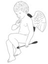 Qute Cupid with arrow Royalty Free Stock Image