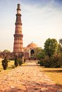 Qutub minar tower brick minaret in delhi india or qutb the tallest the world Royalty Free Stock Photos