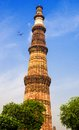 Qutub minar tower brick minaret in delhi india or qutb the tallest the world Royalty Free Stock Image