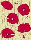 Rétro configuration sans joint florale, popies Image libre de droits