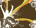 Rétro fan de musique d'arc-en-ciel Photo libre de droits