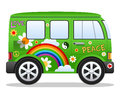 Rétro Hippie Van de dessin animé Image stock