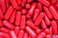 Röda pills Fotografering för Bildbyråer