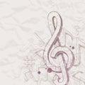 Ręka rysujący treble clef i notatki Obrazy Stock