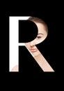 R letter beauty makeup girl creative fashion font