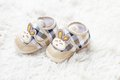Rabbit baby shoes shoe on white Royalty Free Stock Images