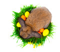 Rabbit in a basket with Easter eggs, Royalty Free Stock Photography