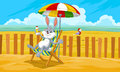 Rabbit at the Beach, illustration Royalty Free Stock Images