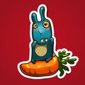 Rabbit on big carrot Royalty Free Stock Photos